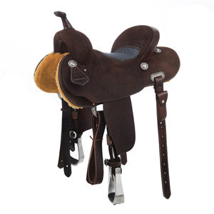 BURNS SADDLERY CH BARREL W/DENIM OSTRICH