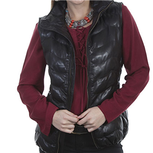 LADIES BLACK RIBBED LEATHER VEST
