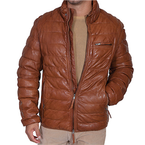 MEN'S COGNAC RIBBED LEATHER JACKET