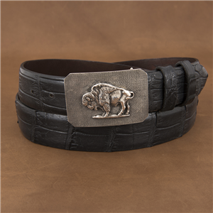 SUNSET TRAILS HEAVY MATTE MESA BUCKLE W/ BISON