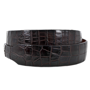 BROWN TAPERED ALLIGATOR BELT
