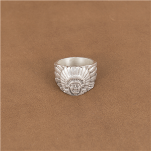 ST STERLING SILVER INDIAN CHIEF RING 9.5