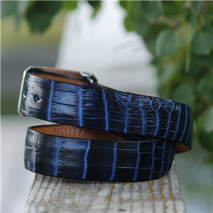 "1 1/2"" TWO TONE NAVY NILE BELT"