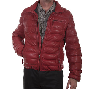 MEN'S RED RIBBED LEATHER JACKET