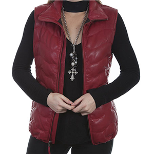 LADIES RED RIBBED LEATHER VEST