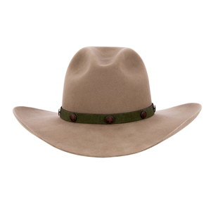 13 Wide Green w/Brown Ends Copper Buttons Hatband