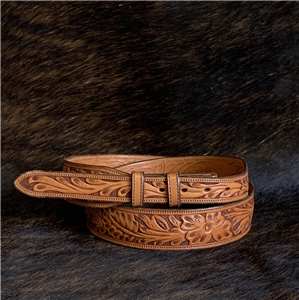 1 1/2'' FLORAL CUSTOM HAND TOOLED BELT