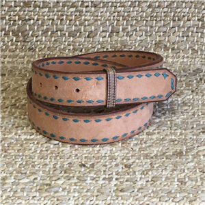 BURNS TQ BUCK STITCH RUSSET ROUGHOUT BELT