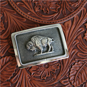 GABE WESTERN BUCKLE WITH BISON FIGURE
