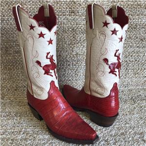 LADIES RED BELLY CROCODILE COWBOY BOOT