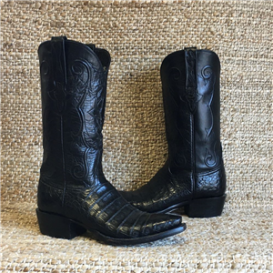 LUCCHESE BLACK ULTRA BELLY CAIMAN