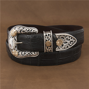 3 PC FILIGREE BUCKLE SET W/ GOLD FLOWERS
