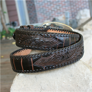 "1 1/2"" BROWN LACED ALLIGATOR BELLY BELT"