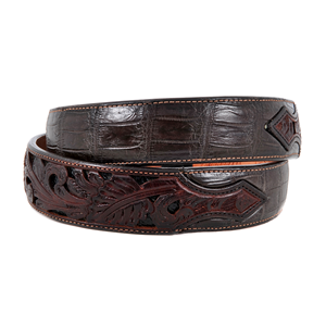 "1 1/2"" CHOCOLATE GATOR BELT W/BILLETS"