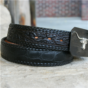 "1 1/2"" LACED ALLIGATOR BELLY TOOLED BELT"