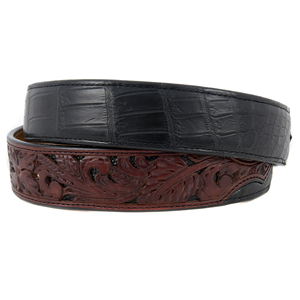 "1 1/2"" BURNS CUSTOM BLACK ALLIGATOR BELT"