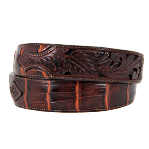 CHESTNUT BROWN HAND CARVED ALLIGATOR BELT
