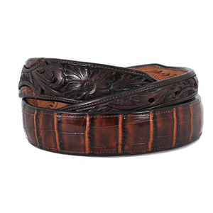 "1 1/2"" LIVER CHESTNUT TAPERED GATOR BELT"
