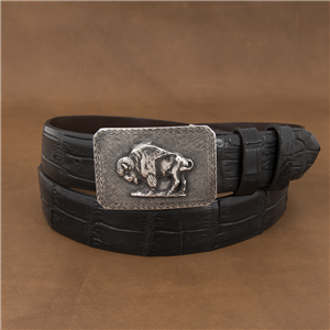 SUNSET TRAILS CROSSHATCH MESA BUCKLE W/ SWT BISON