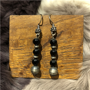 SS ONYX AND OXIDIZED STERLING EARRINGS