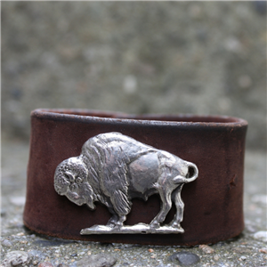 BISON AND WEATHERED LEATHER CUFF