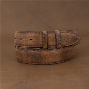 "1 1/2"" COGNAC BISON BELT W/BILLETS"