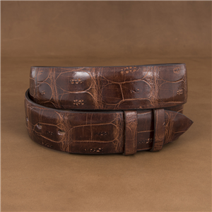 "1 1/2"" GLAZED COGNAC CROC TAIL BELT"