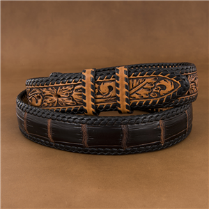 CHOCOLATE GATOR BELT W/ANTIQUE BROWN BILLETS/BK LACE
