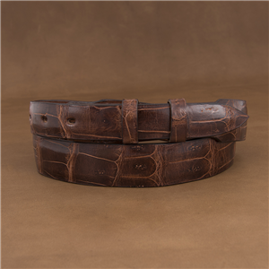 "1 1/4-1"" TAPER GLAZED COGNAC CROC TAIL BELT"