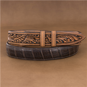 "1 1/4"" CAIMAN CHOCOLATE BELT W/ ANTIQUE BROWN BILLETS"