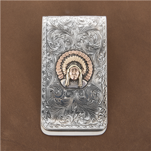 WESTERN ENGRAVED MONEY CLIP W/3 CG CHIEF