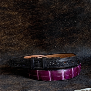 TAPERED PURPLE GATOR/BLACK BILLETS BELT