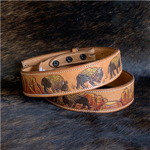 TAPERED HAND PAINTED WESTERN SCENE BELT