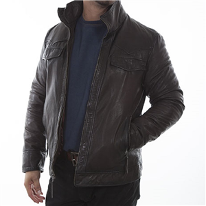 MEN'S CHOCOLATE DOUBLE COLLAR LEATHER JACKET