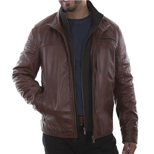 MEN'S BROWN LEATHER JACKET W/FRONT INSERT
