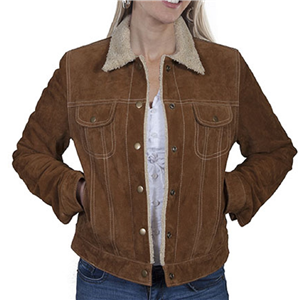 LADIES CINNAMON BOAR SUEDE JEAN JACKET