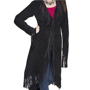 LADIES BLACK SUEDE FRINGE MAXI COAT