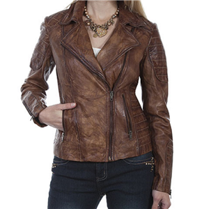 LADIES BROWN SANDED LEATHER JACKET