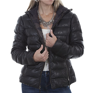 LADIES BLACK RIBBED AND HOODED LEATHER JACKET