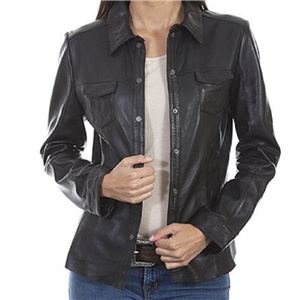 LADIES BLACK SNAP FRONT JACKET