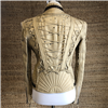 LADIES BEIGRE SHORT JACKET W/LACE WORK/STUDS TRIM