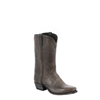 MENS FULL GREY BISON COWBOY BOOT COLLAR AND SIDE SEAM
