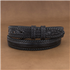 "1 1/4"" AMERICAN ALLIGATOR BLACK BELT W/BLACK BILLETS AND LACING"