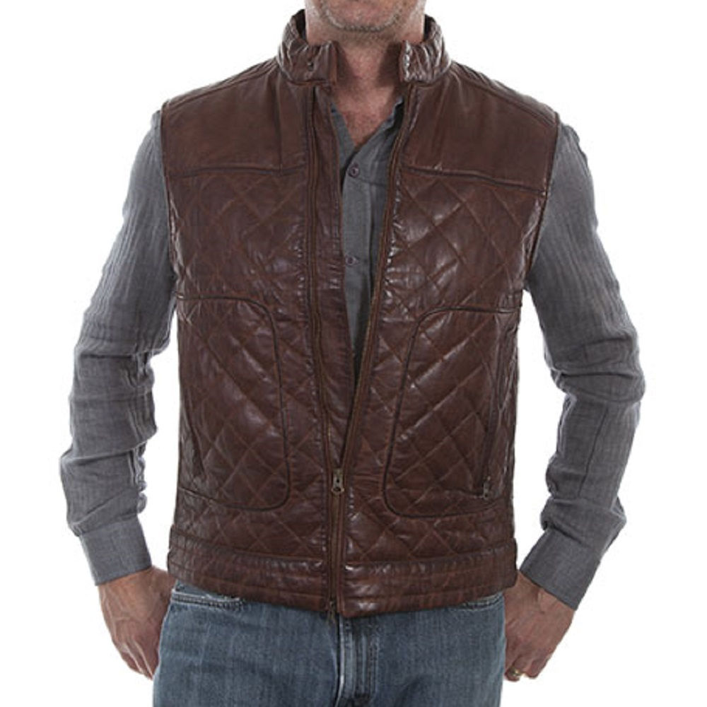 MEN'S ANTIQUE BROWN QUILTED LEATHER VEST