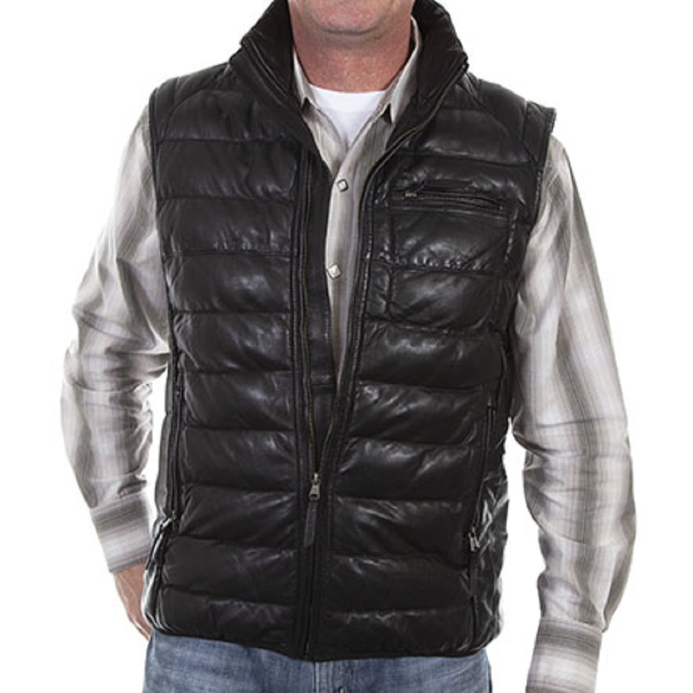 MEN'S BLACK LAMB RIBBED LEATHER VEST
